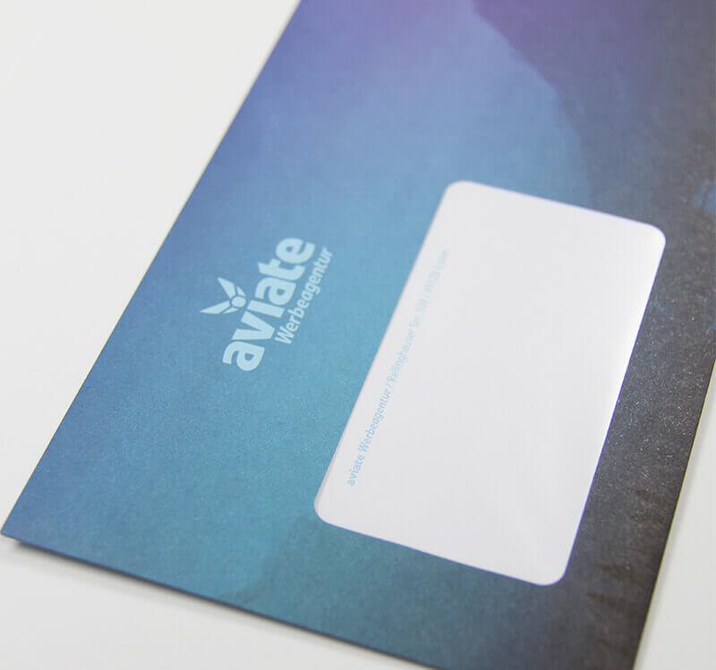 aviate Werbeagentur Detailaufnahme Briefumschlag