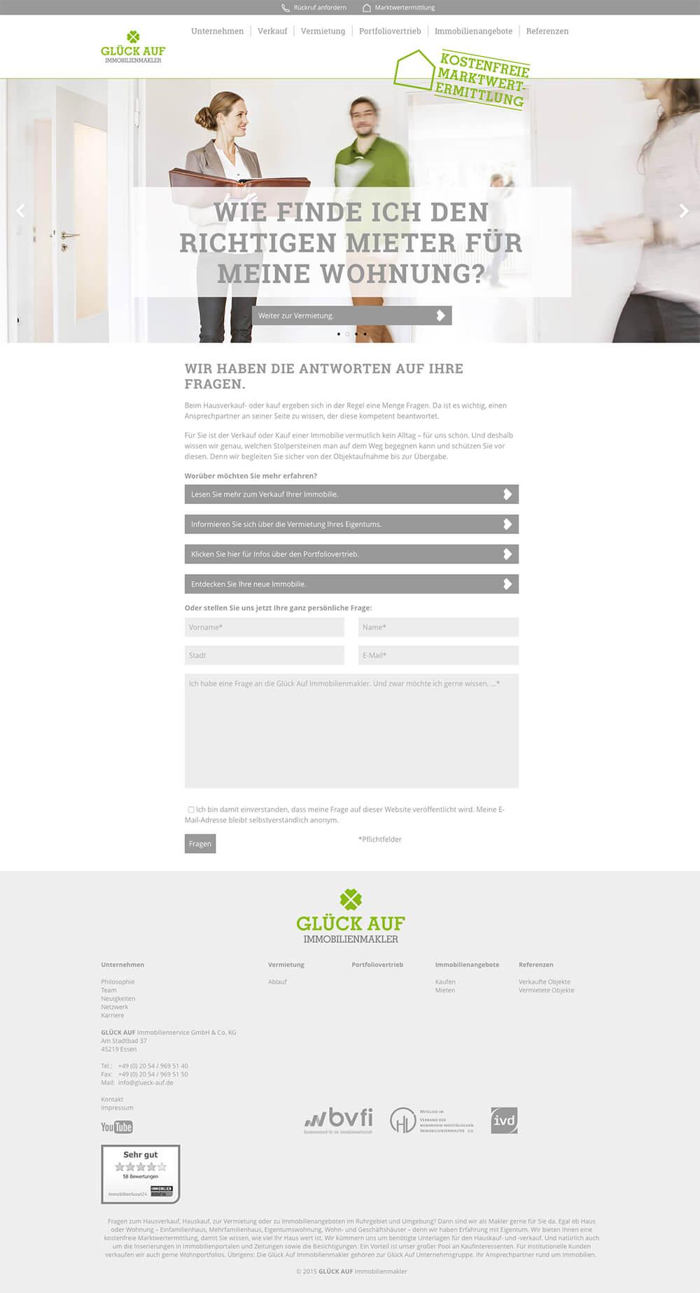 Glück Auf Immobilienmakler Webdesign