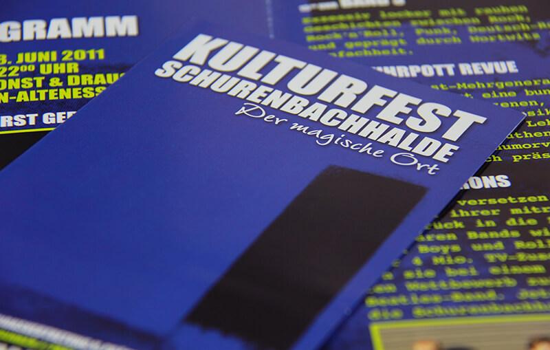 Kulturfest Schurenbachhalde Detailaufnahme Faltblatt