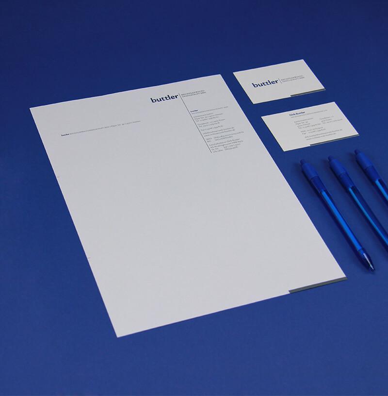Buttler Rechtsanwaltsgesellschaft Briefbogen und Visitenkarte