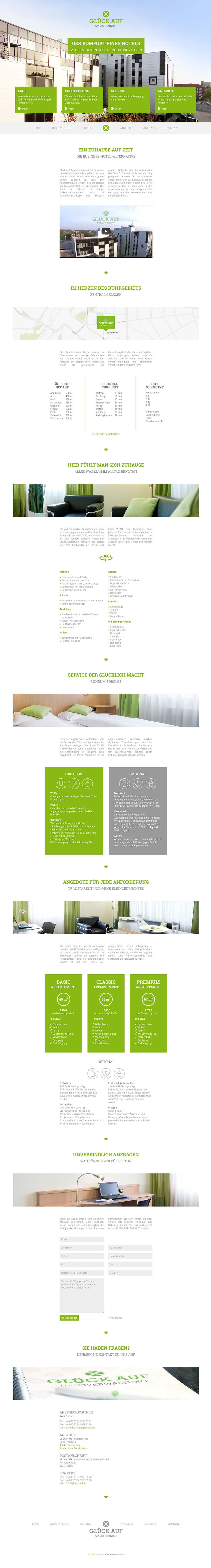 Glück Auf Appartements Webdesign