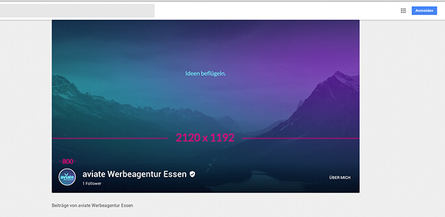 google-plus-account-aviate-werbeagentur-cover-foto-essen-profil-foto-groessen-titelbild