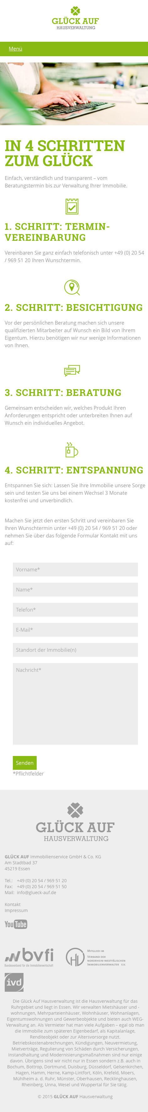 Glück Auf Hausverwaltung Responsive Webdesign
