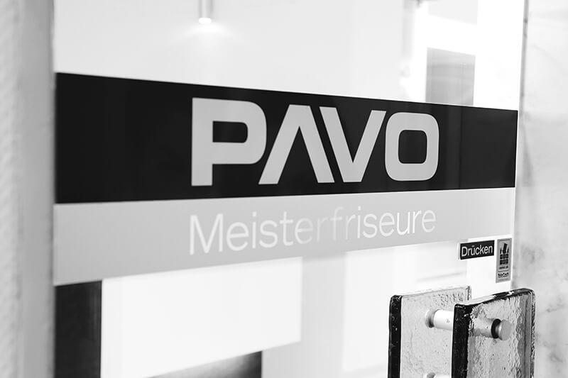 PAVO Meisterfriseure Beschriftung