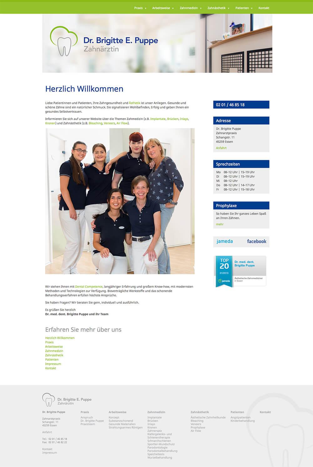 Zahnarztpraxis Dr. Brigitte Puppe Webdesign