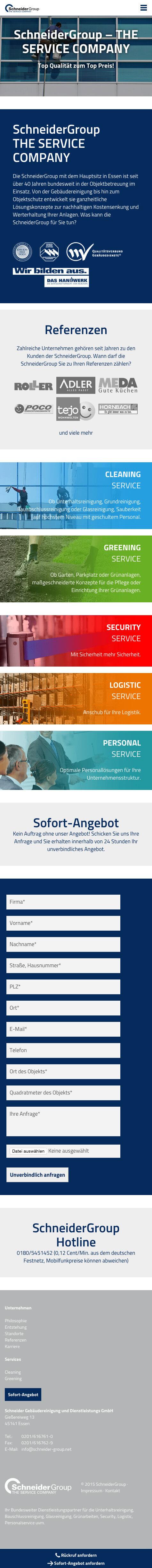 Schneider Group Responsive Internetseite