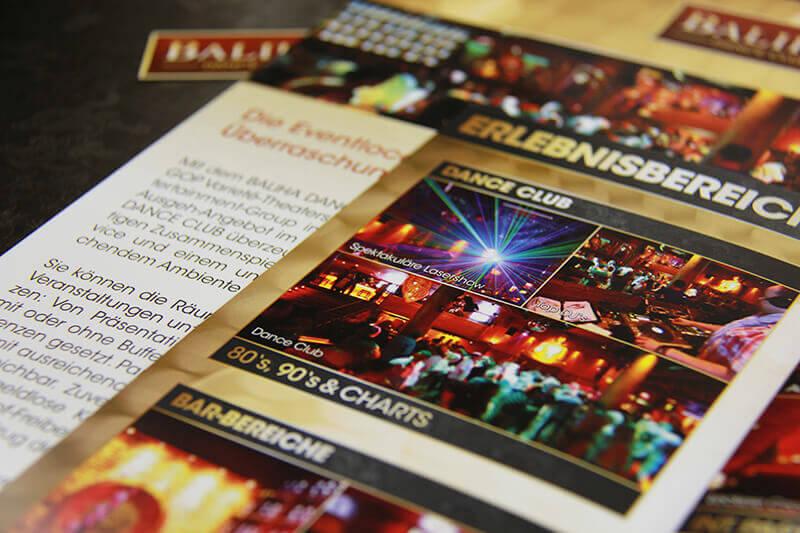 Baliha Dance Club Detailaufnahme Faltblatt