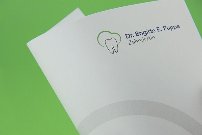 Zahnarztpraxis Dr. Brigitte Puppe Detailaufnahme Briefbogen