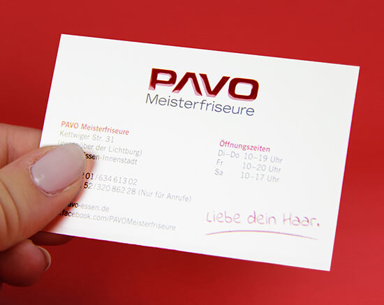 PAVO Meisterfriseure Visitenkarte