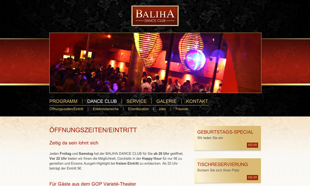Baliha Dance Club Webdesign