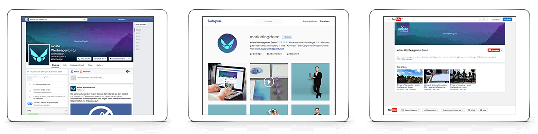aviate Werbeagentur facebook, Instagram, Youtube