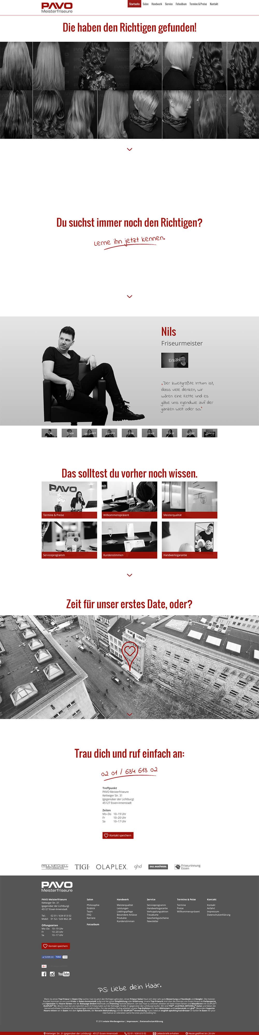 PAVO Meisterfriseure Webdesign